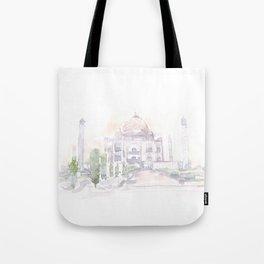 Watercolor landscape illustration_India - Taj Mahal Tote Bag