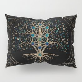 Kabbalah The Tree of Life Marble and Gold Pillow Sham
