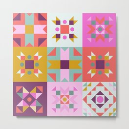 Maroccan tiles pattern with pink no4 Metal Print