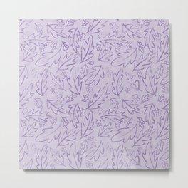 Falling Leaves Cartoon Purple repeating pattern Metal Print