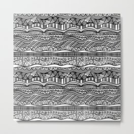Black and White Ethnic Pattern Metal Print