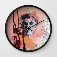 james franco Wall Clocks featuring James Franco by Katarzyna Typek