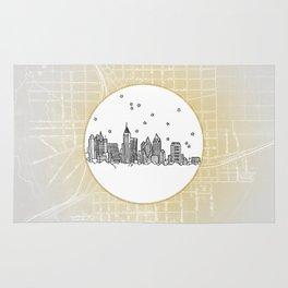 Atlanta, Georgia City Skyline Illustration Drawing Rug