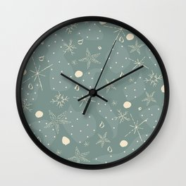 Seamless Winter pattern with snowflakes Wall Clock