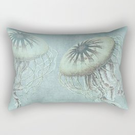 Jellyfish Underwater Aqua Turquoise Art Rectangular Pillow