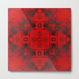 Red & Black Tech Design Metal Print