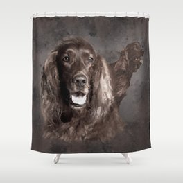 Irish Setter Dogs Digital Art Shower Curtain