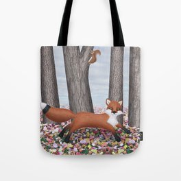 fox and squirrel Tote Bag
