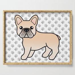 Cream French Bulldog Dog Cute Cartoon Illustration Serving Tray