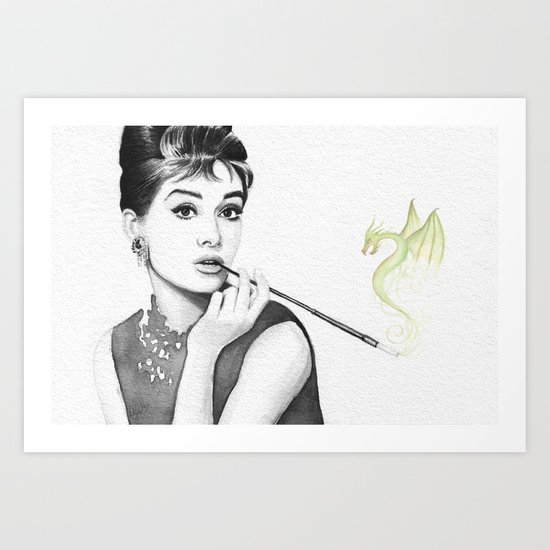 Audrey Hepburn and Her Dragon Art Print
