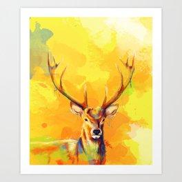 Forest King - Deer painting Art Print