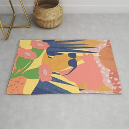 Summer with flower of a turban girl Rug
