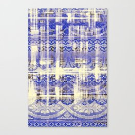 needlepoint sampler in blues Canvas Print