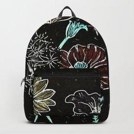 Flowers on black paper Backpack
