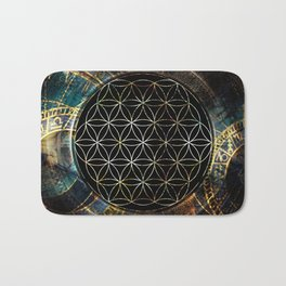 Flower of Life and Zodiac in Cosmic Space Bath Mat