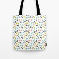 bows Tote Bags featuring Spring bows by Demi Goutte