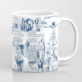 Da Vinci's Anatomy Sketchbook // Dark Blue Coffee Mug