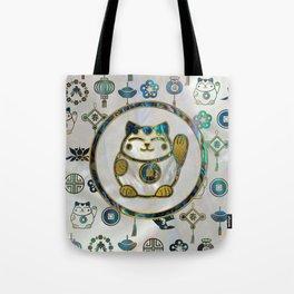 Maneki Neko Lucky cat on  pearl and abalone Tote Bag