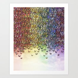 rainbow of butterflies aflutter Art Print