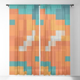 Simple pixel seamless palette in traditional Moroccan colors: Aqua, terracotta, orange, blue Sheer Curtain