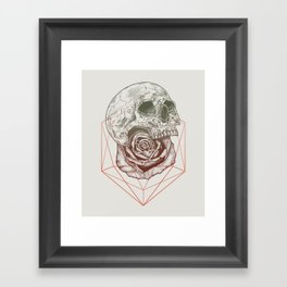 Skull Rose Geo Framed Art Print