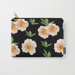 Peonies Flower Pattern on Black #1 #floral #decor #art #society6 Carry-All Pouch