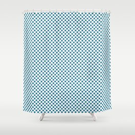 Jelly Bean Blue Polka Dots Shower Curtain