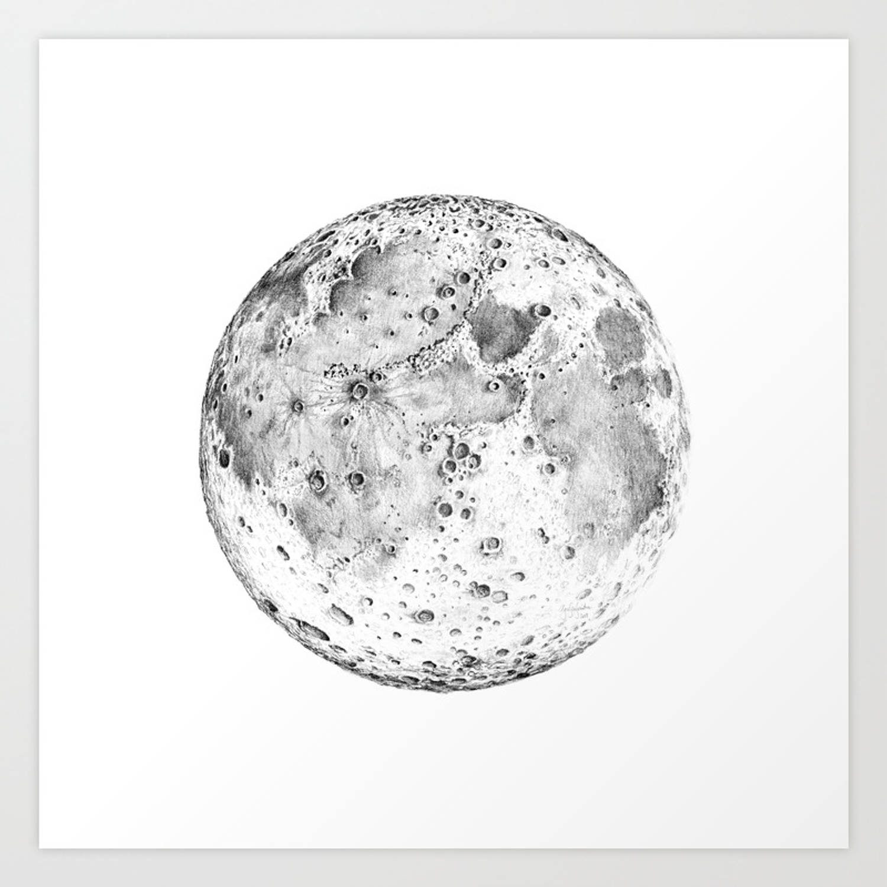 Full moon pencil drawing art print