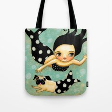 Pug Mermaid swimming in the sea by Tascha Parkinson Tote Bag