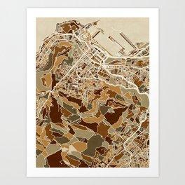 Cape Town South Africa City Street Map Art Print
