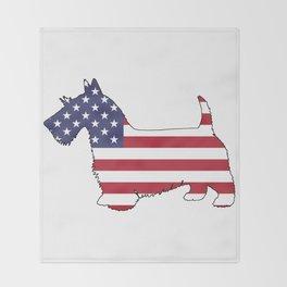 """Scottish Terrier """"American Flag"""" Throw Blanket"""