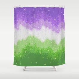 Genderqueer Pride Galaxy Shower Curtain