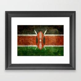 National flag of Kenya -Vintage version, to scale Framed Art Print