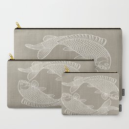 Gray Grey Alabaster Koi Fishes Carry-All Pouch