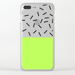 Lime and Black-and-White Bar Two-Tone Clear iPhone Case