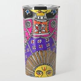 Madhubani - Orange Durga Travel Mug