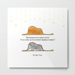 The Little Prince, under stars, a hat or a boa constrictor? Metal Print