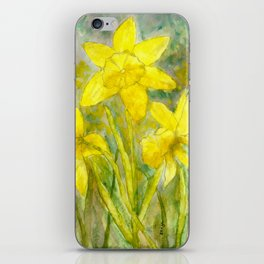 Rise and Shine, Watercolor Daffodils Painting iPhone Skin
