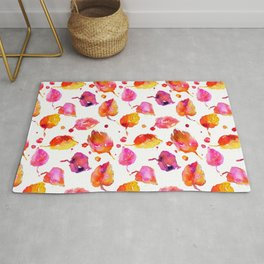 Watercolor fall linden leaves Rug