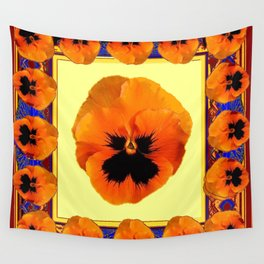 This design is all about the ORANGE PANSIES ON YELLOW COLOR DESIGN ART decor, furnishings, or for th Wall Tapestry