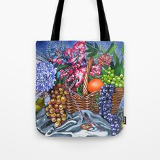 Plastic Fruits and Flowers Tote Bag