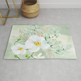 White Orchid Series: Orchid in Watercolor Rug