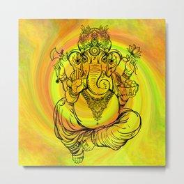 Lord Ganesha on Yellow Spiral Metal Print