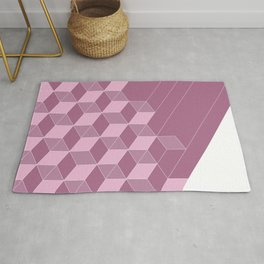 Cubed Expression – Pink / Purple Abstract Diamond Pattern Rug