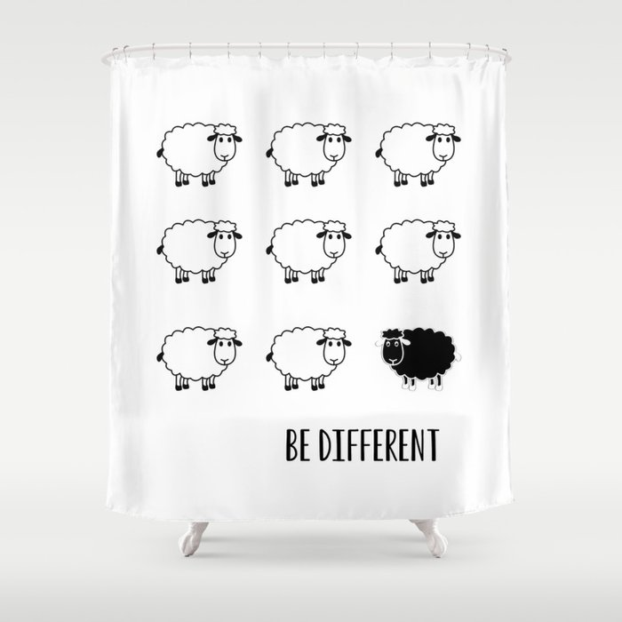 Typography Poster Motivational Be Different Black Sheep Shower Curtain
