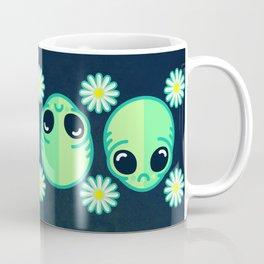Sad Alien and Daisy Nineties Grunge Pattern Coffee Mug