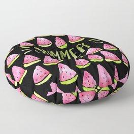 Watermelon means Summer - black background Floor Pillow