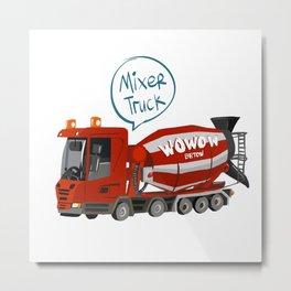 Cute Mixer Truck Metal Print