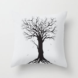 silver tree on the gray Throw Pillow