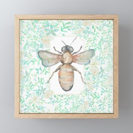 Garden Bee and Blooming Flowers Framed Mini Art Print